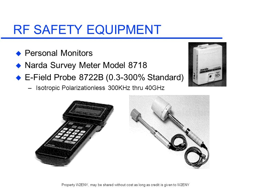 RF SAFETY EQUIPMENT Personal Monitors Narda Survey Meter Model 8718
