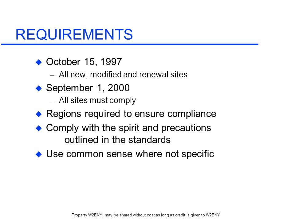 REQUIREMENTS October 15, 1997 September 1, 2000
