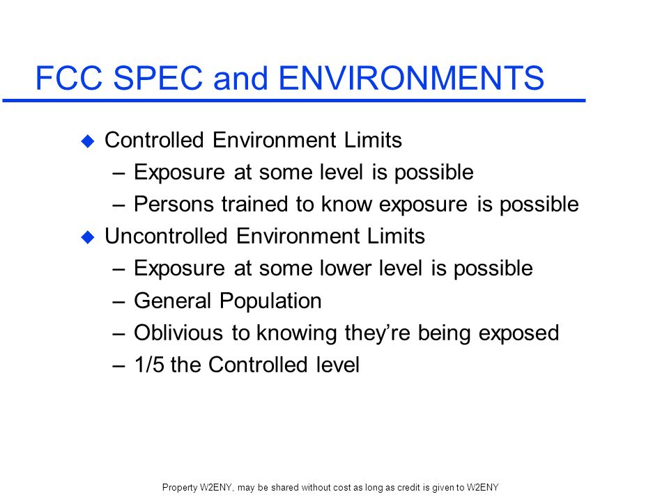 FCC SPEC and ENVIRONMENTS