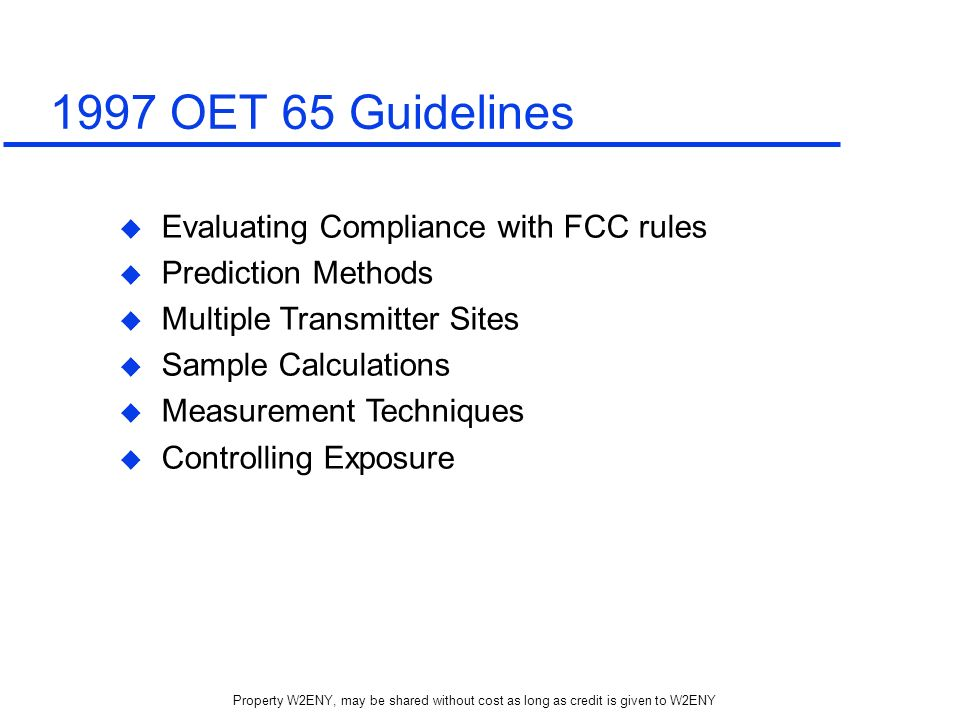 1997 OET 65 Guidelines Evaluating Compliance with FCC rules