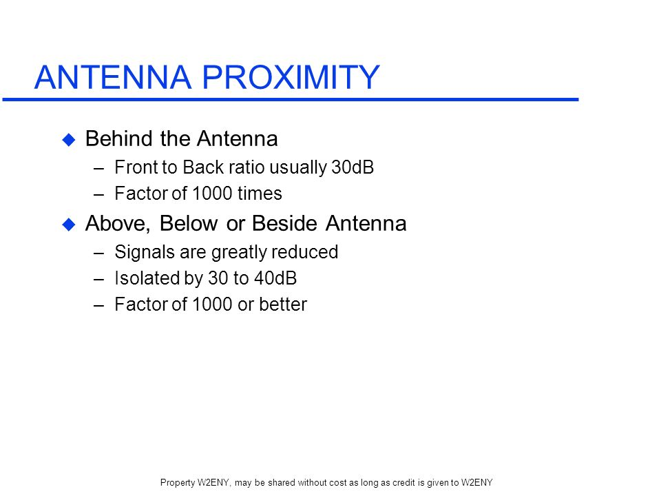 ANTENNA PROXIMITY Behind the Antenna Above, Below or Beside Antenna