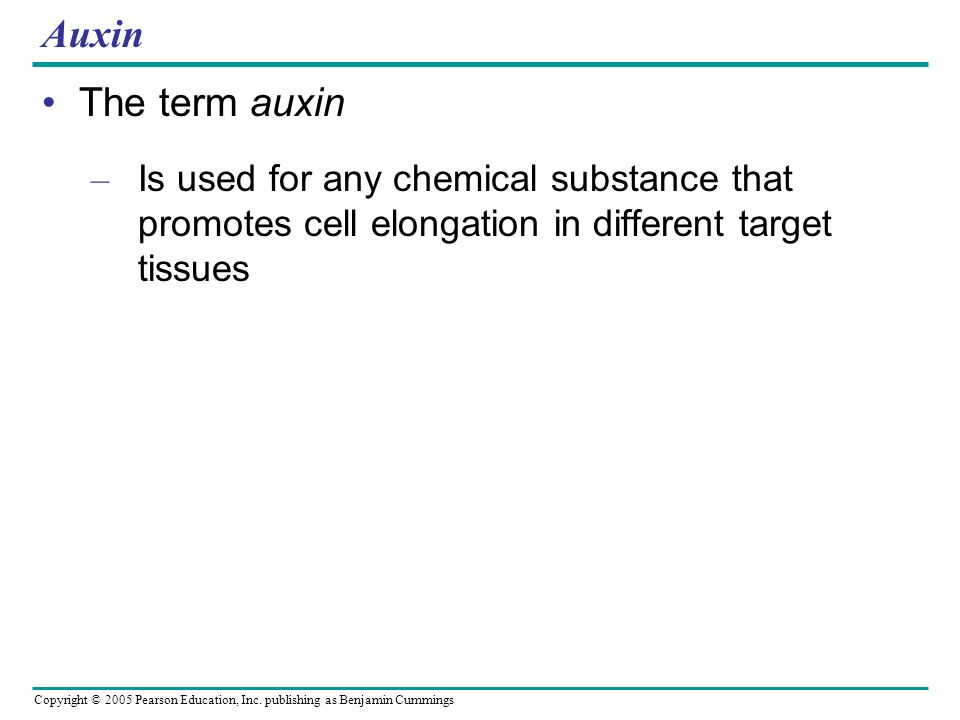 Auxin The term auxin.