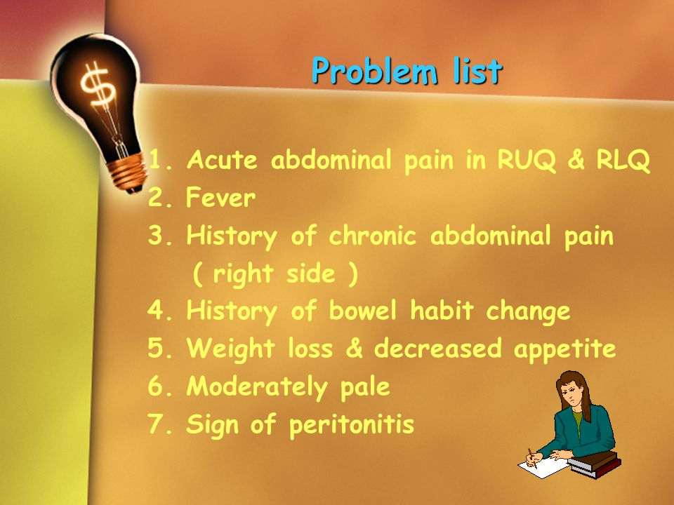 Problem list 1. Acute abdominal pain in RUQ & RLQ 2. Fever