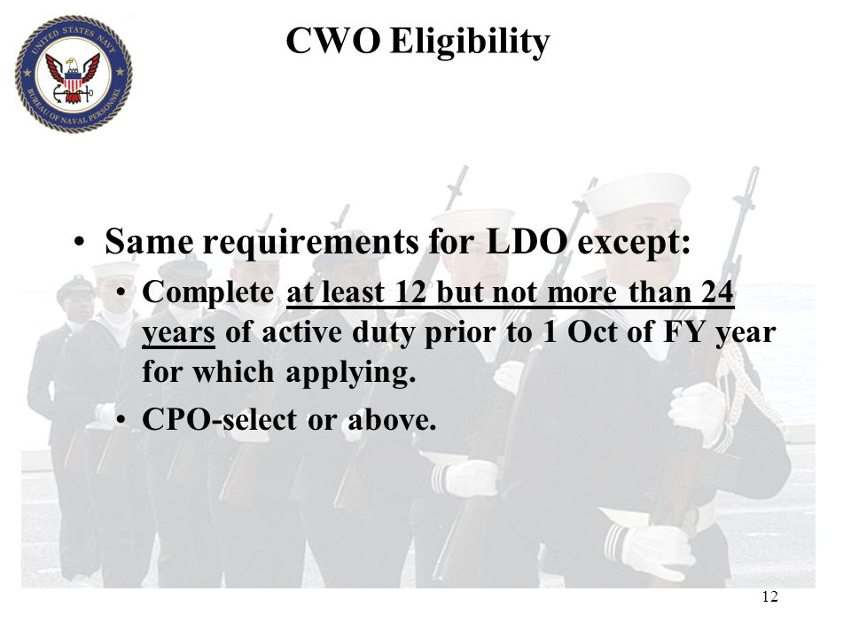 Same requirements for LDO except: