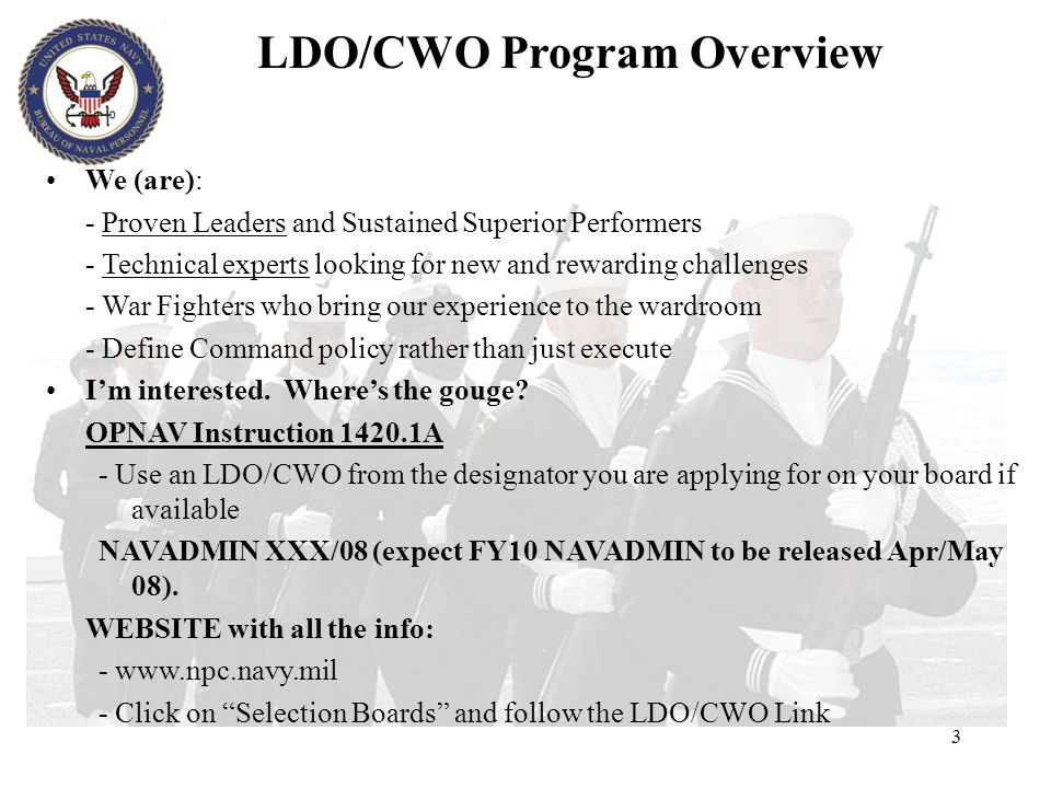 LDO/CWO Program Overview