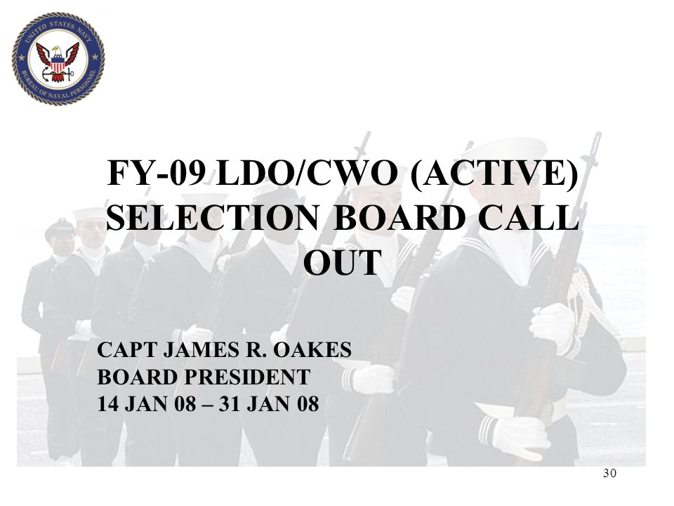 FY-09 LDO/CWO (ACTIVE) SELECTION BOARD CALL OUT