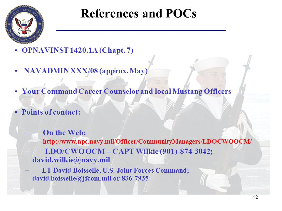 References and POCs OPNAVINST A (Chapt. 7)