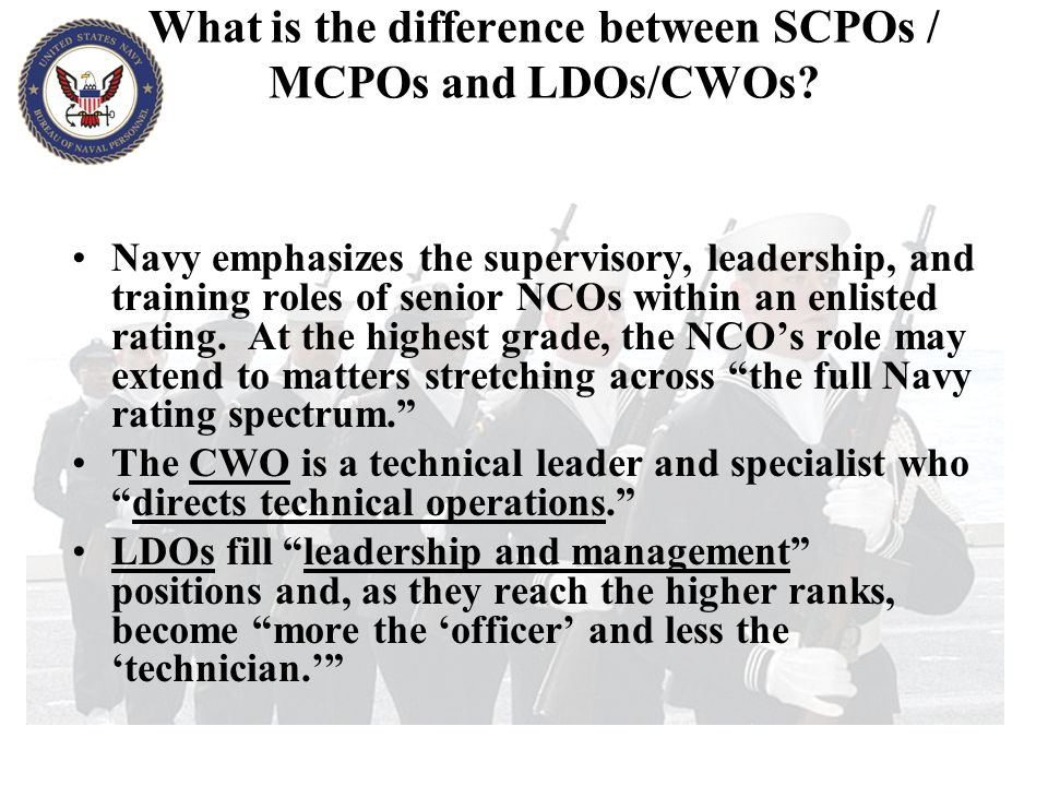 What is the difference between SCPOs / MCPOs and LDOs/CWOs
