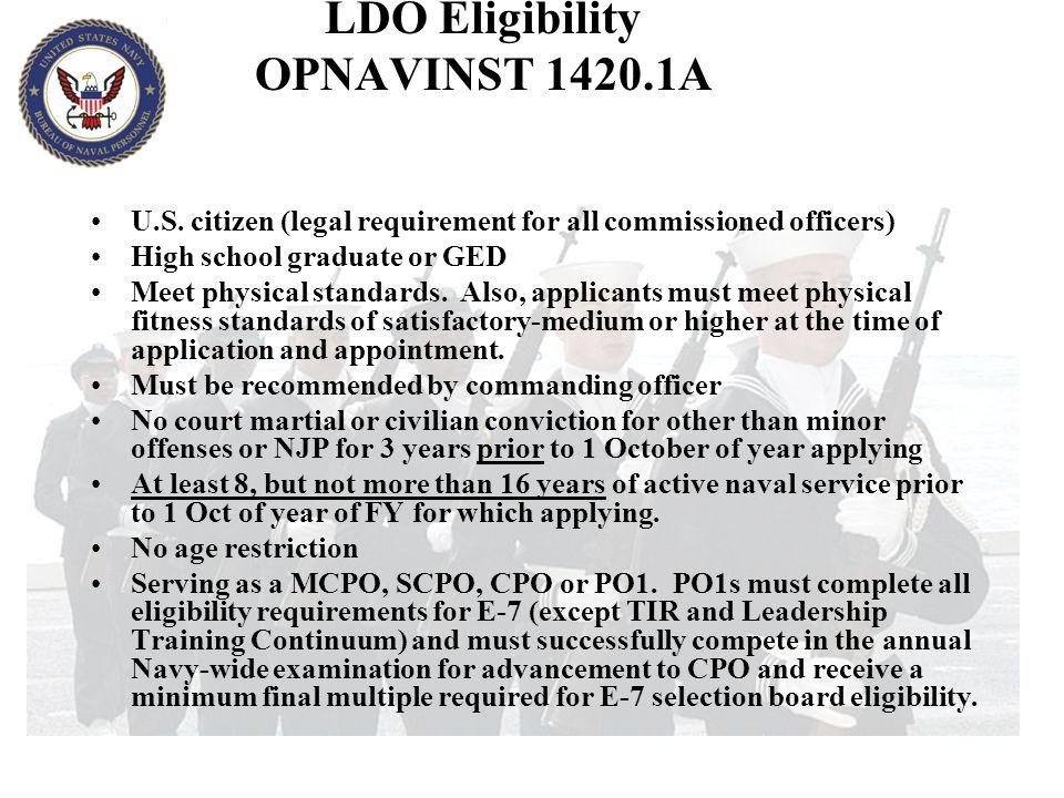 LDO Eligibility OPNAVINST 1420.1A