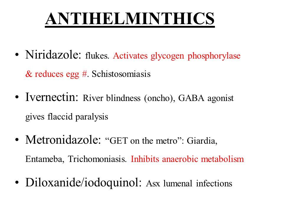 ANTIHELMINTHICS Niridazole: flukes. Activates glycogen phosphorylase & reduces egg #. Schistosomiasis.
