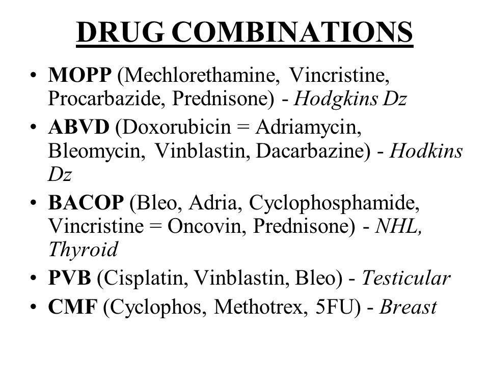 DRUG COMBINATIONS MOPP (Mechlorethamine, Vincristine, Procarbazide, Prednisone) - Hodgkins Dz.