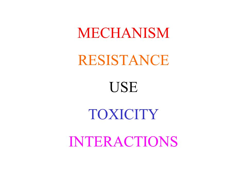 MECHANISM RESISTANCE USE TOXICITY INTERACTIONS