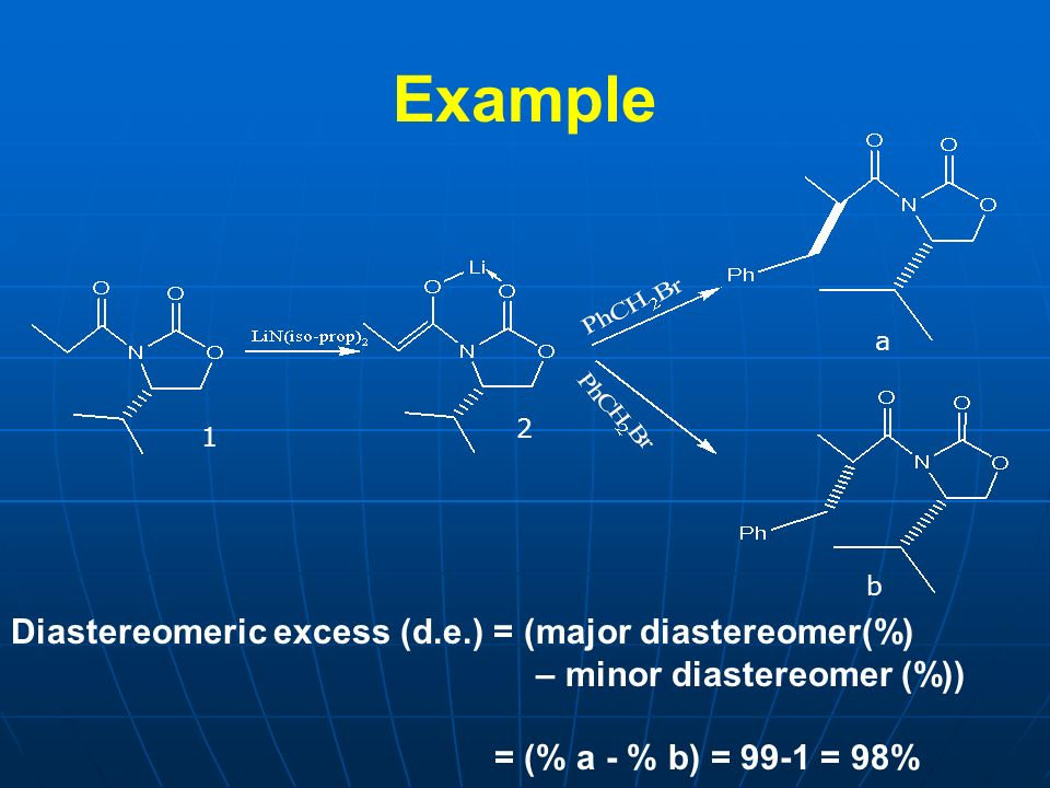 Example Diastereomeric excess (d.e.) = (major diastereomer(%)