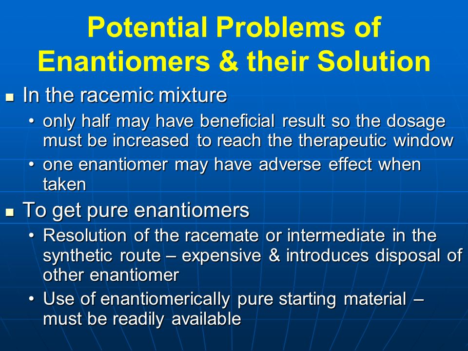Potential Problems of Enantiomers & their Solution