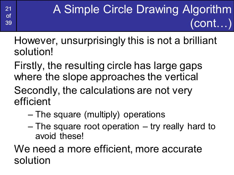 A Simple Circle Drawing Algorithm (cont…)