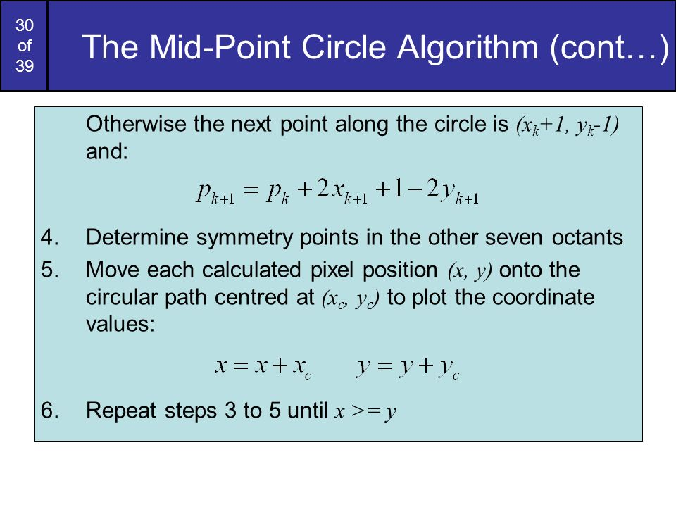 The Mid-Point Circle Algorithm (cont…)