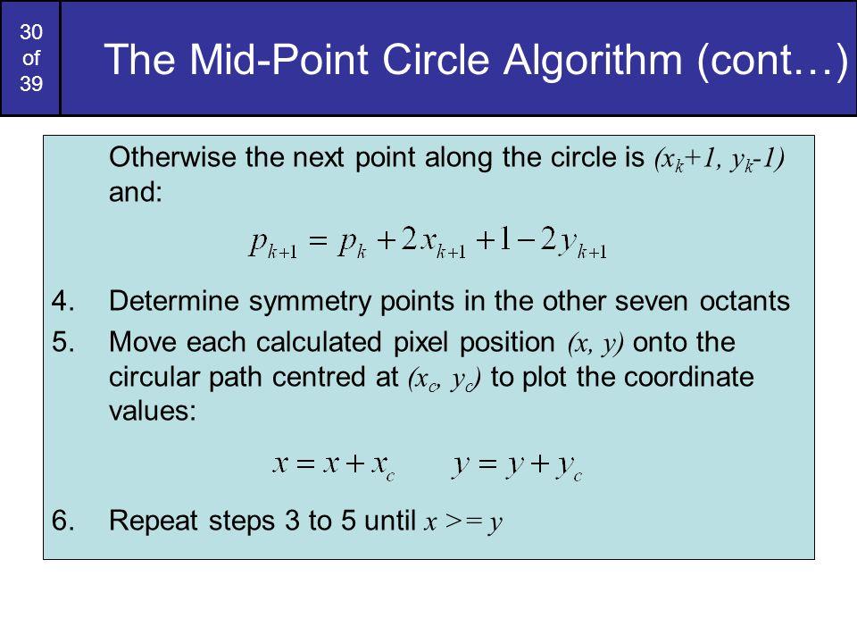 The Mid-Point Circle Algorithm (cont…)
