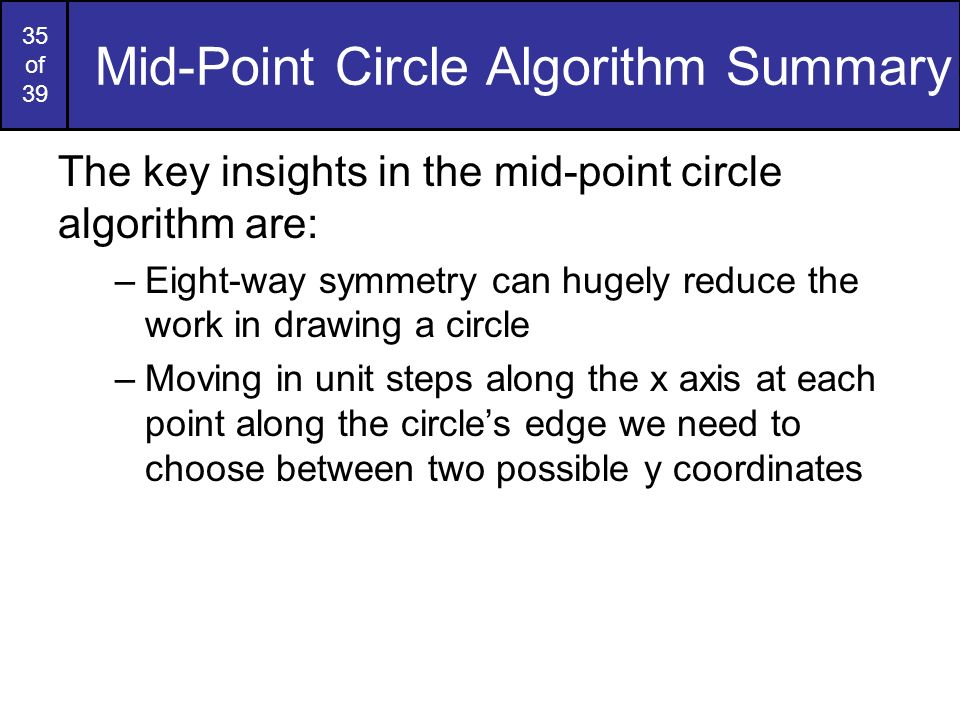 Mid-Point Circle Algorithm Summary