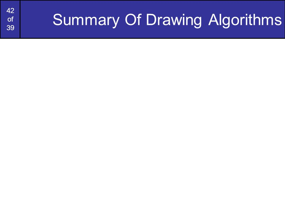 Summary Of Drawing Algorithms