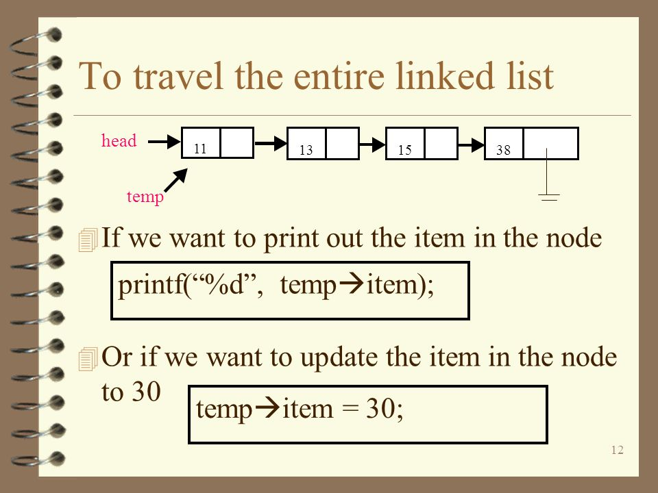To travel the entire linked list