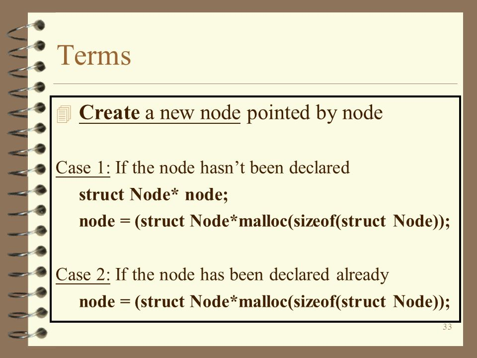 Terms Create a new node pointed by node