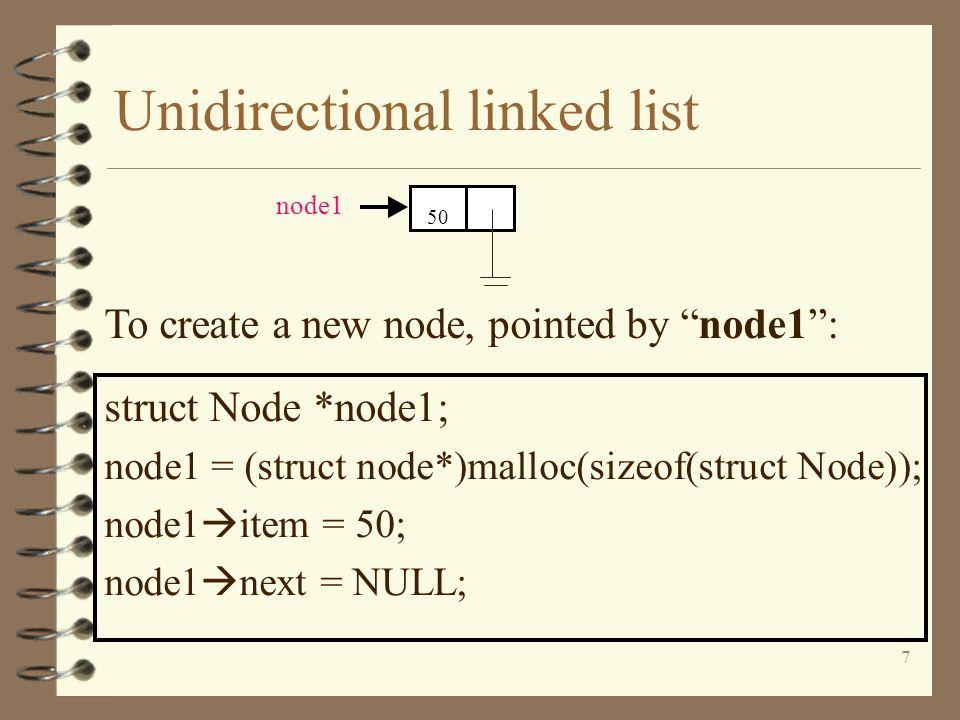 Unidirectional linked list