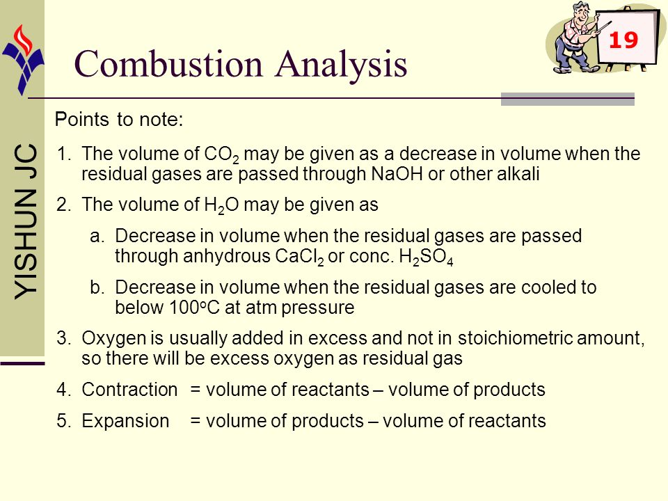 Combustion Analysis 19 Points to note: