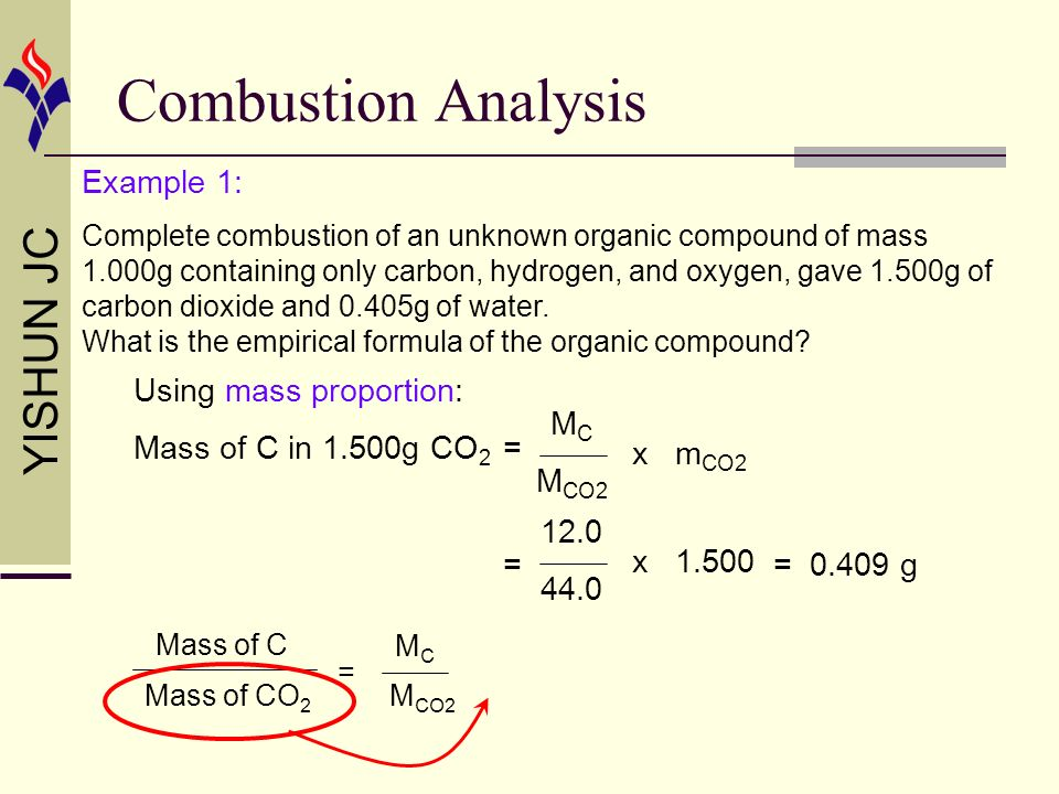 Combustion Analysis Example 1: Using mass proportion: