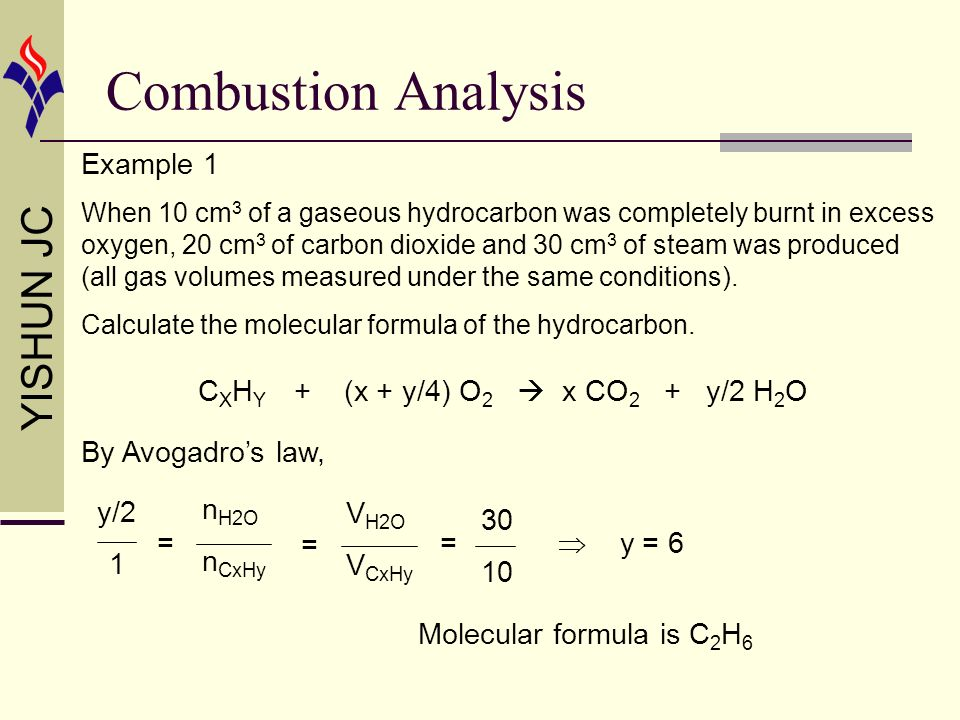 Combustion Analysis Example 1 CXHY + (x + y/4) O2  x CO2 + y/2 H2O