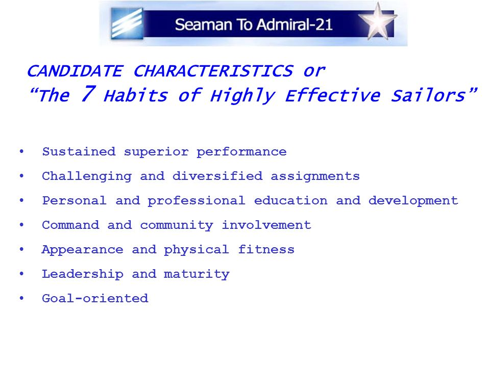 CANDIDATE CHARACTERISTICS or