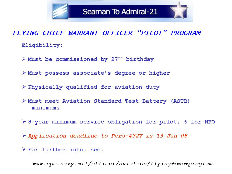 FLYING CHIEF WARRANT OFFICER PILOT PROGRAM