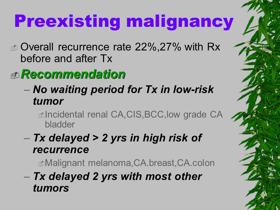 Preexisting malignancy