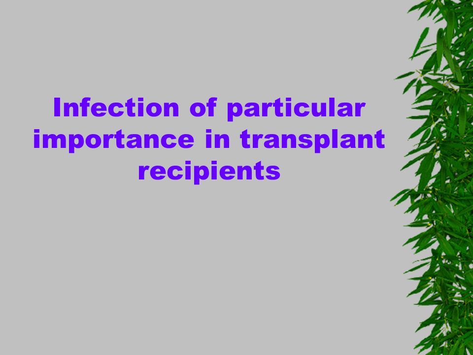 Infection of particular importance in transplant recipients