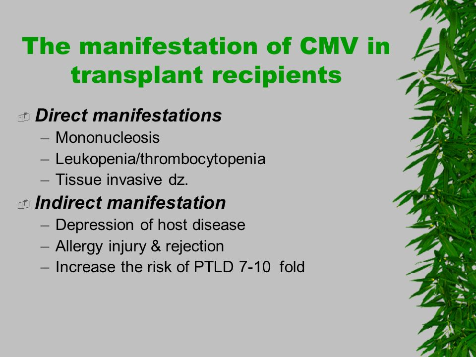 The manifestation of CMV in transplant recipients