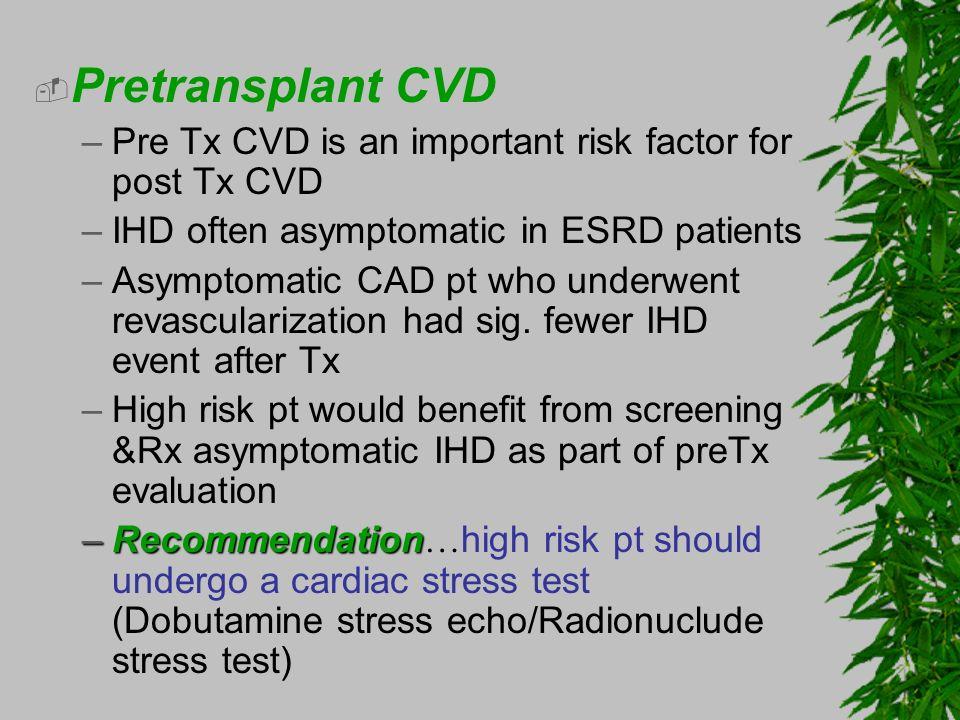 Pretransplant CVDPre Tx CVD is an important risk factor for post Tx CVD. IHD often asymptomatic in ESRD patients.