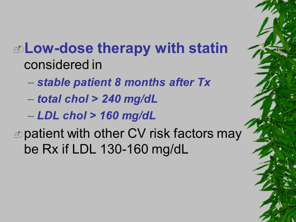 Low-dose therapy with statin considered in