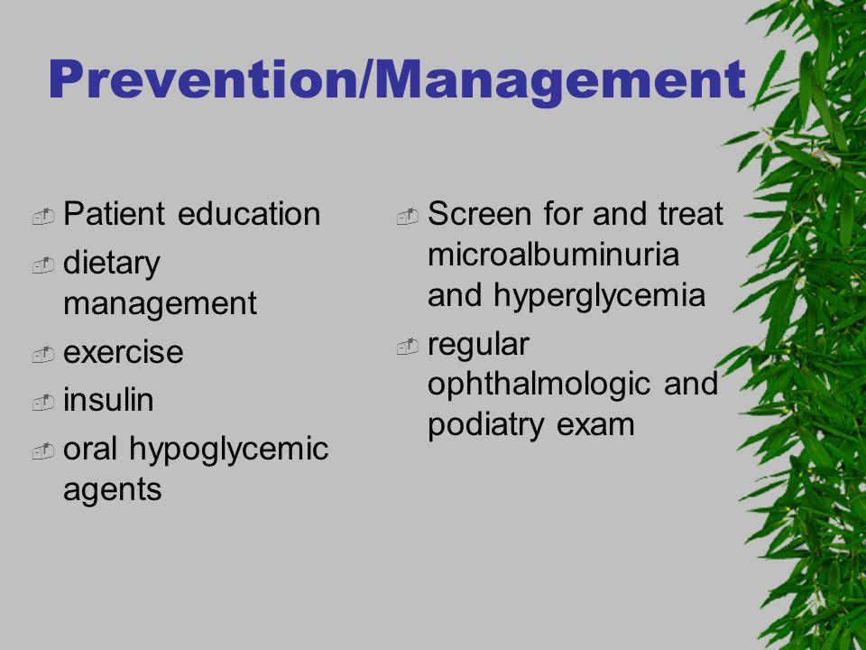 Prevention/Management