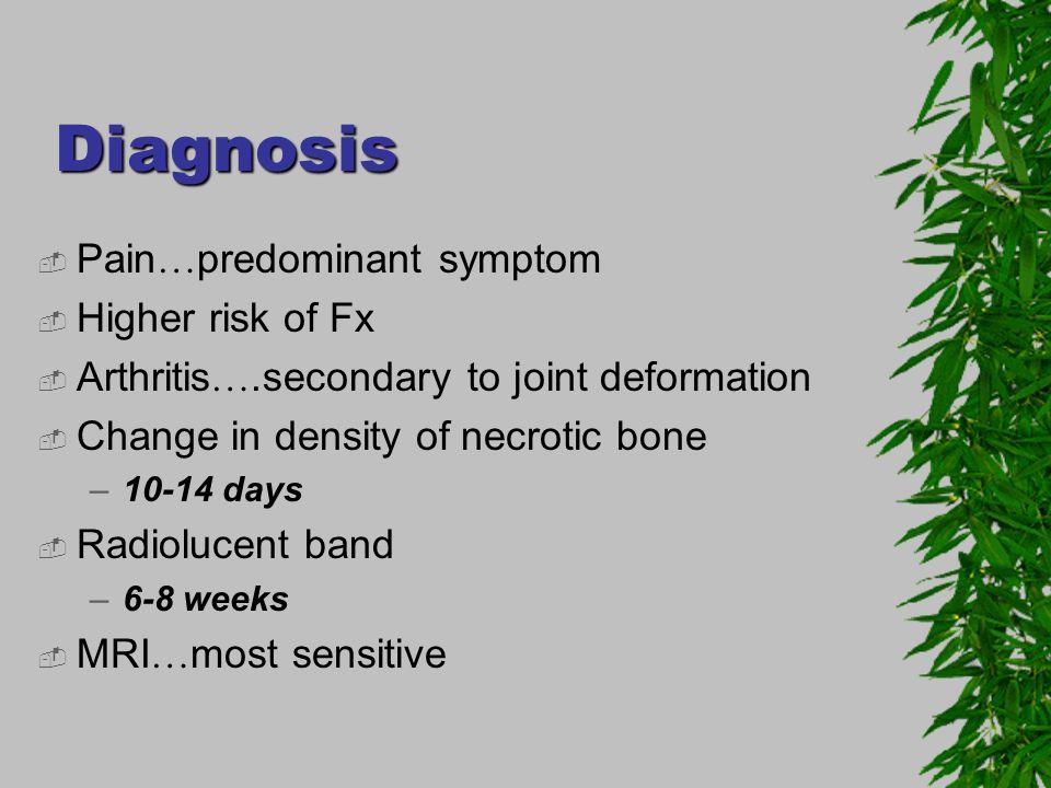 Diagnosis Pain…predominant symptom Higher risk of Fx