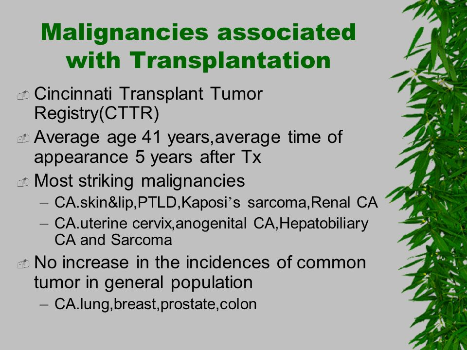 Malignancies associated with Transplantation