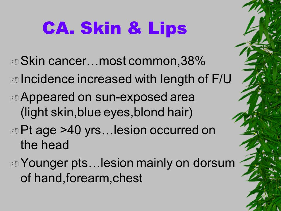 CA. Skin & Lips Skin cancer…most common,38%