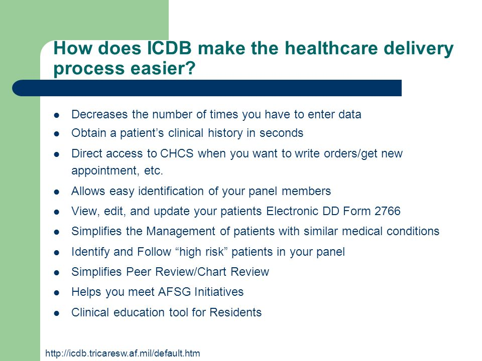 How does ICDB make the healthcare delivery process easier