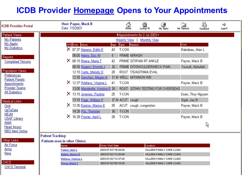 ICDB Provider Homepage Opens to Your Appointments