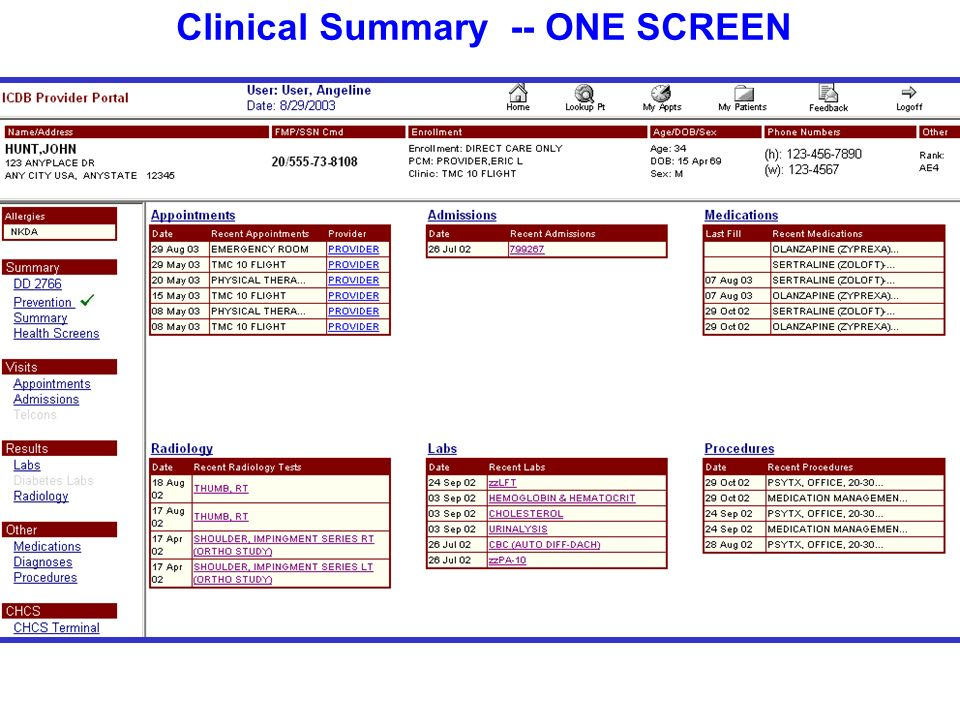 Clinical Summary -- ONE SCREEN