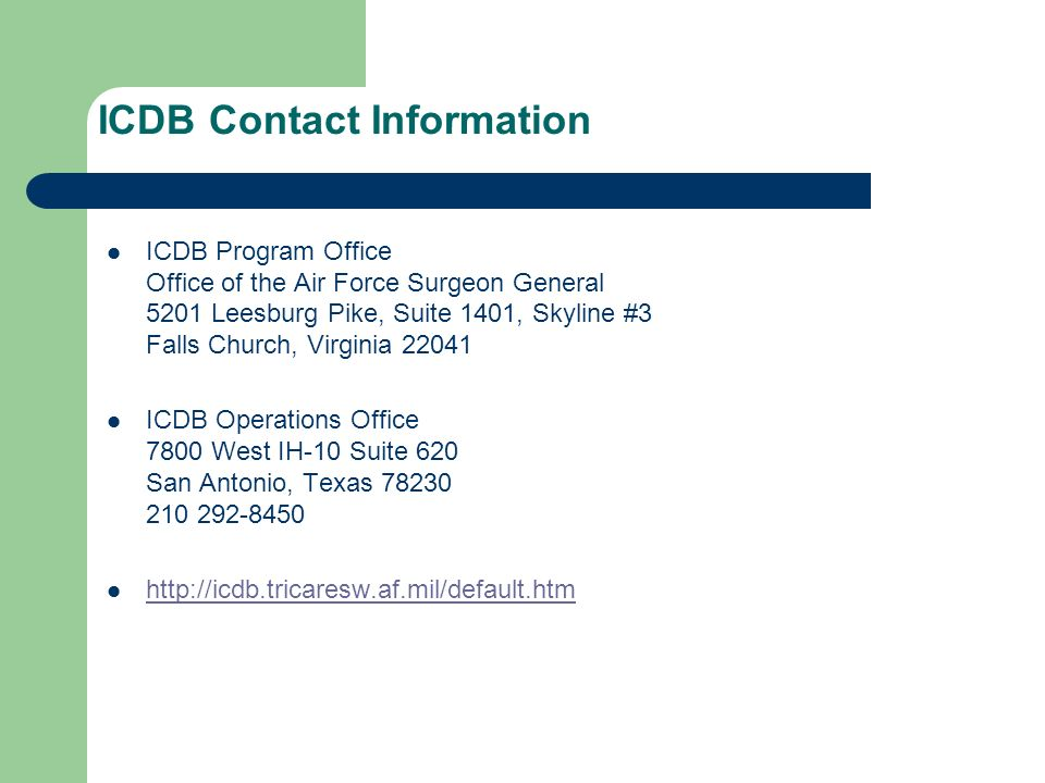 ICDB Contact Information