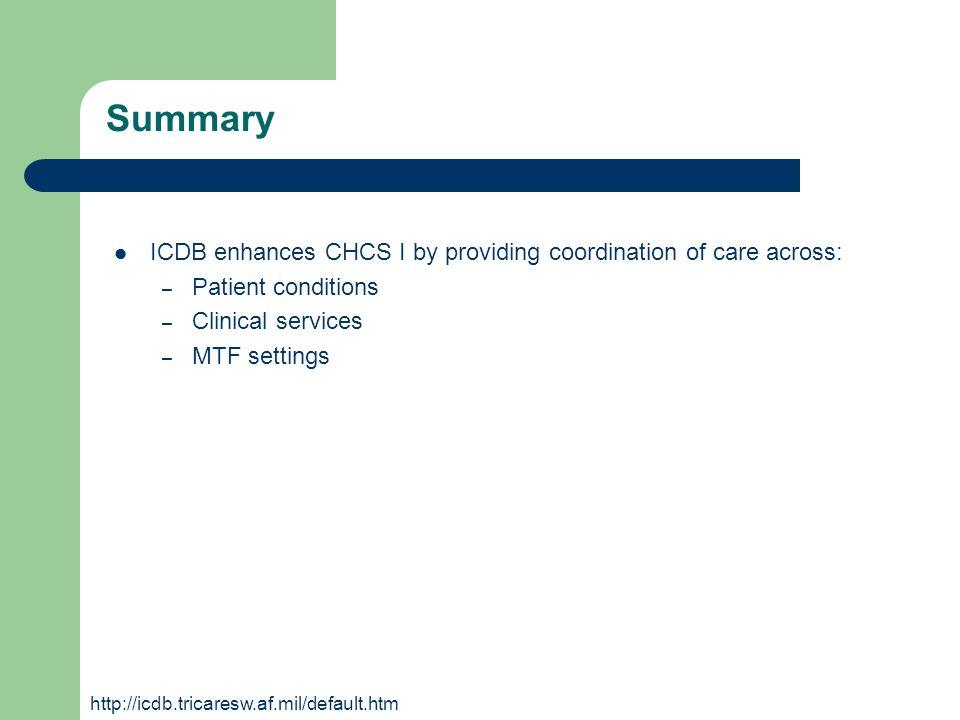 Summary ICDB enhances CHCS I by providing coordination of care across: