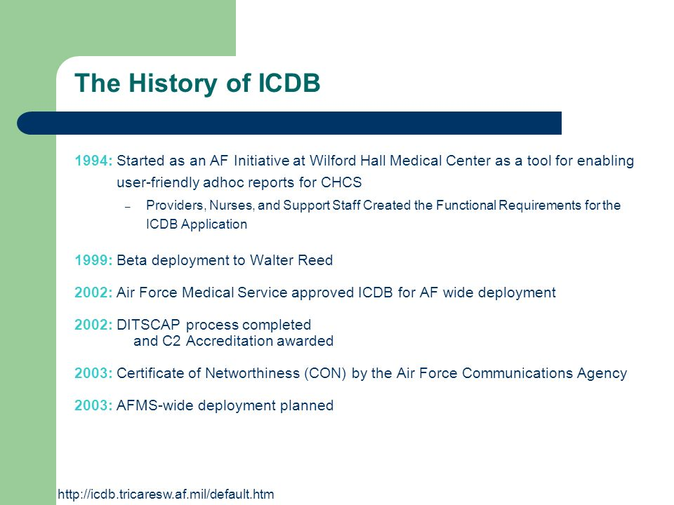 The History of ICDB