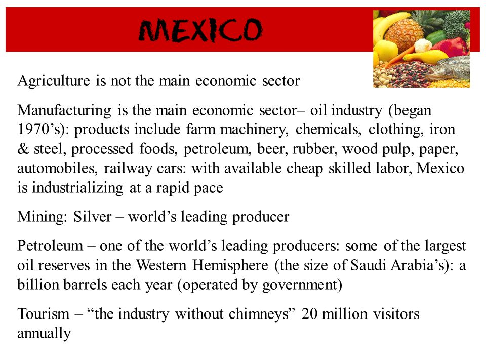 Agriculture is not the main economic sector