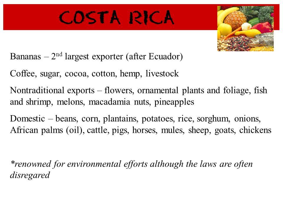 Bananas – 2nd largest exporter (after Ecuador)