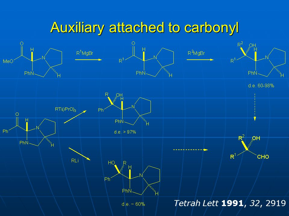 Auxiliary attached to carbonyl