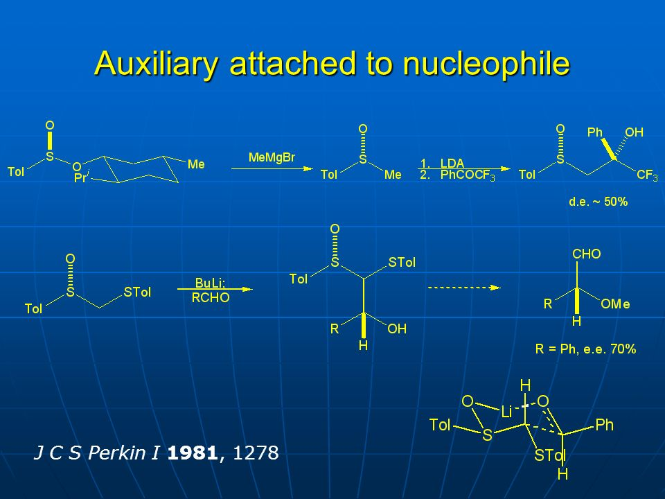 Auxiliary attached to nucleophile